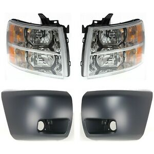 Headlight For 2007 2013 Chevrolet Silverado 1500 Lh And Rh Fog Light Hole