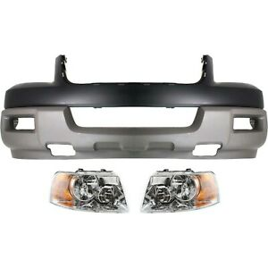Bumper Cover Kit For 2003 Expedition Front 3pc With Headlight