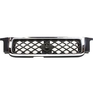 Grille For 99 2001 Nissan Pathfinder Chrome Shell W Gray Insert Plastic