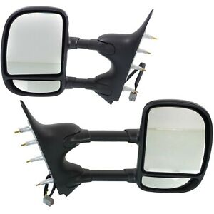 Side View Mirrors Power Dual Arm Towing Lh Rh Pair Set For 09 16 Ford Van