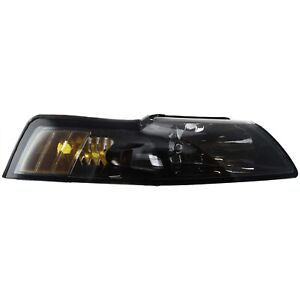 Headlight For 2001 2002 2003 2004 Ford Mustang Right Black Housing With Bulb