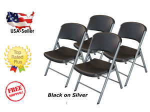 Lifetime Commercial Grade Contoured Folding Chair 4 Pack White Granite On Grey