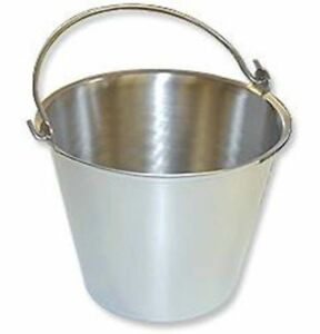 Stainless Steel Pail Bucket Handle 9 Quart Veterinary Surgery Dental Milk Food