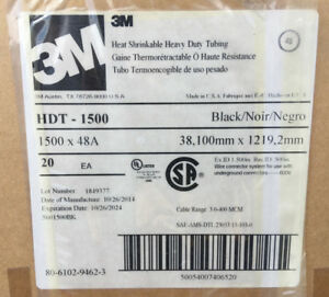 3m Heat Shrink Tubing 1 5in X 48in Heavy Duty Black 3 1 Ratio Hdt 1500 20 Pieces