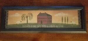 Primitive Country Salt Box House Sheep Willow Tree Black Wood Frame