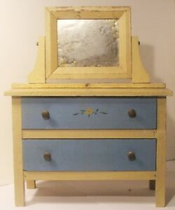 Painted Dresser Vtg Salesman Sample Doll Furniture Mirror In Cabinet 2 Drawer