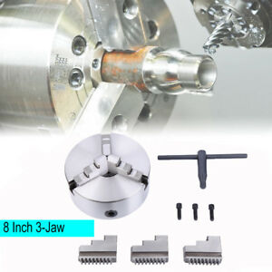 3 jaw 8 Lathe Scroll Chuck Self Centering Hardened Steel For South Bend