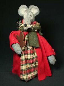 Rags A Muffin Hand Crafted Primitive 15 Felted Wool Mouse With Gingerbread