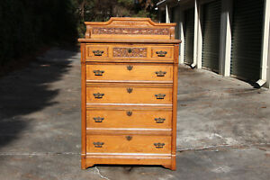 Fine Chestnut Philadelphia Victorian Aesthetic Eastlake Tall Chest Dresser