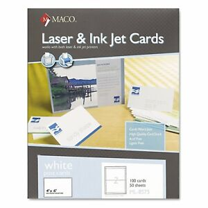Maco Unruled Microperforated Laser ink Jet Index Cards 4 X 6 White 100 box