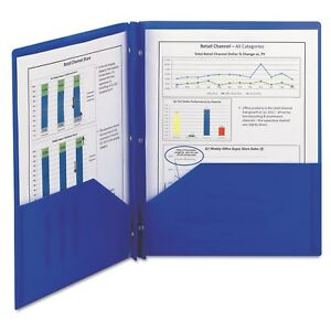 Smead Poly Two pocket Folder With Fasteners 11 X 8 1 2 Blue 25 box