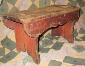 Primitive Foot Stool Milking Bench W Old Red Paint Mortised Whale Bootjack Ends