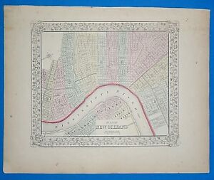 Vintage 1868 New Orleans Louisiana Atlas Map Old Antique Original 10119