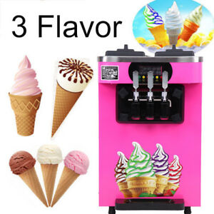 3 Flavor Commercial Frozen Yogurt Soft Ice Cream Cones Maker Machine 110v 18l h