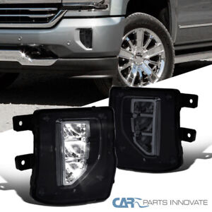 Fit 16 18 Chevy Silverado 1500 Smoke Led Fog Lights Driving Bumper Lamps switch
