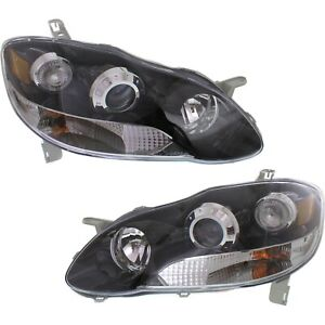 Headlight For 2003 2008 Toyota Corolla Pair Lh And Rh Black Oe Upgrade