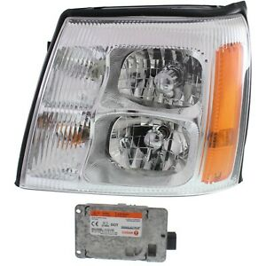 Headlight For 2003 2006 Cadillac Escalade Left Amber Lens Hid With Bulb