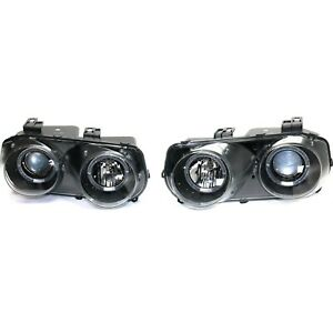 Styleline Headlight For 94 97 Acura Integra Left And Right Black Housing 2pc