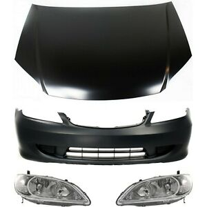 Auto Body Repair For 2004 2005 Honda Civic Bumper Cover Headlight Hood