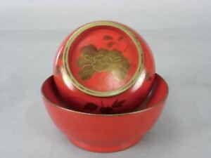 Japanese Lacquer Ware Lidded Bowl Vtg Wooden Shiruwan Gold Makie Miso Soup Lw239