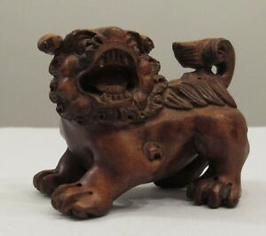 Vintage Detailed Signed Hand Carved Wood Chinese Guardian Lion Foo Dog Boxwood