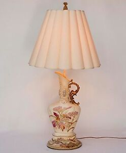 Vintage Porcelain French Style Hand Painted Gilt Gold Pitcher Ewer Table Lamp