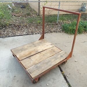 Old Industrial Push Cart Old Cast Iron Wheels Factory Pallet Cart