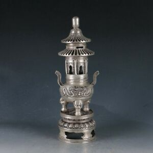 Chinese Tibetan Silver Copper Pagoda Incense Burner Made During Qianlong Period