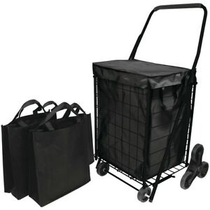 Helping Hand Stair Climb Cart With Liner amp amp 2 Bags Hbclfq39908bk