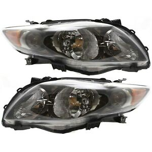 Headlight Set For 2009 2010 Toyota Corolla Left And Right Black Housing 2pc