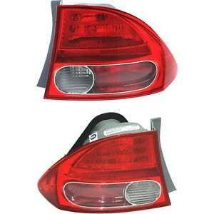 Halogen Tail Light Set For 2006 2008 Honda Civic Outer Clear red W Bulbs 2pcs