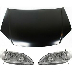 Hood Kit For 2004 2005 Honda Civic 3pc With Halogen Headlight
