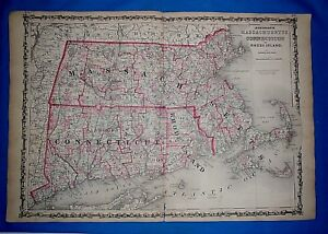 1864 Massachusetts Connecticut Atlas Map Antique Original Johnson S Civil War