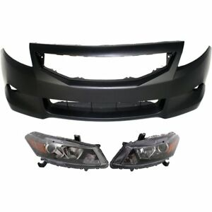 Bumper Cover Kit For 2008 2010 Honda Accord Front 2 door Coupe 3pc Capa
