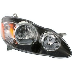Headlight For 2005 2006 2007 2008 Toyota Corolla Right Black Housing With Bulb