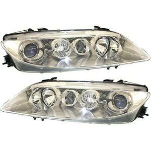 Headlight Set For 2003 2004 2005 Mazda 6 Left And Right Chrome Housing 2pc