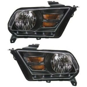 Headlight Set For 2010 2014 Ford Mustang Left And Right Black Housing 2pc