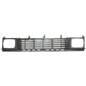 Grille Assembly For 1986 1987 Nissan D21 2wd Silver Plastic W Headlight Holes