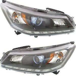Headlight Set For 2014 2015 Honda Accord Sedan Left And Right Chrome Housing 2pc