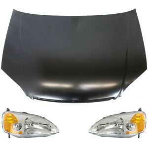 Hood Kit For 2001 2003 Honda Civic 3pc With Halogen Headlight