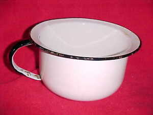 Vintage White With Black Trim Childs Enamelware Potty With Handle 1013