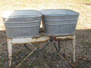 Original Vintage Used Galvanized Double Wash Tubs With Rusty Stand