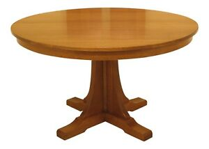 30447ec Stickley Round Mission Oak Arts Crafts Dining Table