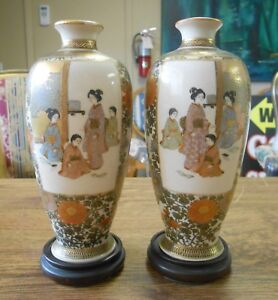 Antique Pair Meiji Period Fine Quality Satsuma Vases On Wood Stands Signed 6