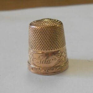 Victorian 14k Solid Gold Thimble Hand Chased Design Mono