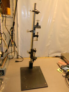 Lab Stand Base 12 X 15 34 25 High 2 V groove Table Top Support Clamps