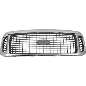 Grille For 2002 2004 Ford Excursion Chrome Shell W Gray Insert Plastic