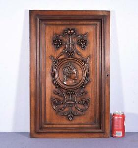 French Antique Hand Carved Panel Door In Walnut Wood With Portrait Of A Woman
