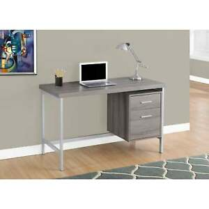Dark Taupe And Silver Metal 48 inch Computer Desk
