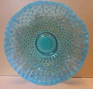 Upbx Art Glass Blue Hobnail Opalescent Edge Large Ruffled Bowl 11 Wide